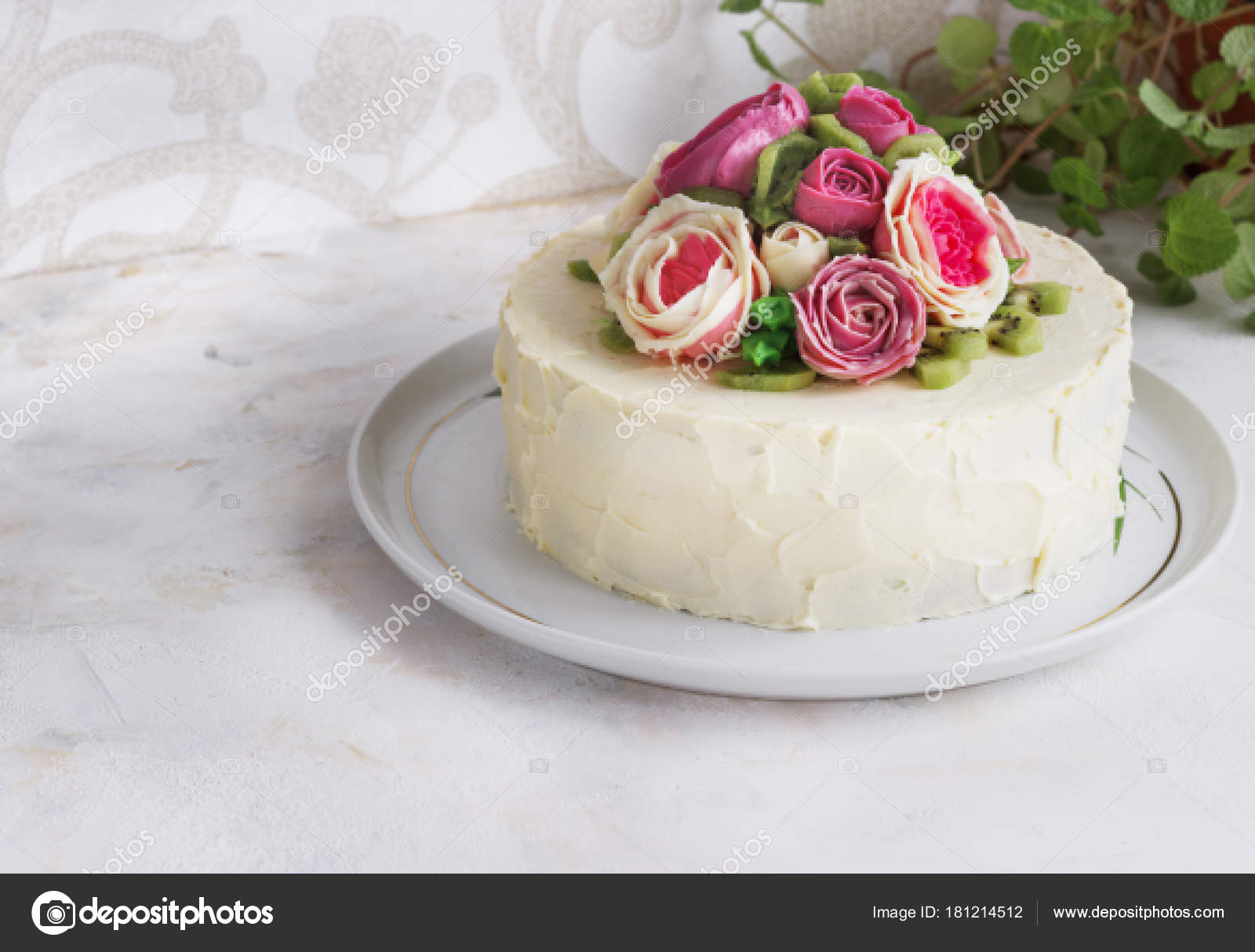 Enjoyable Images Cakes With Flowers Birthday Cake With Flowers Rose On Personalised Birthday Cards Cominlily Jamesorg