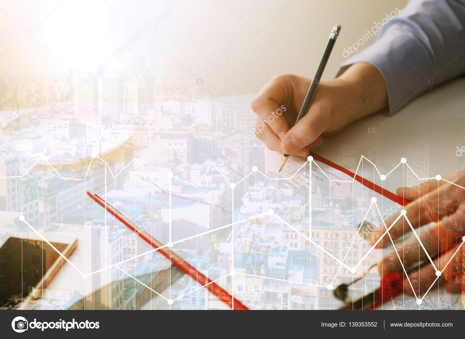 Die männliche Hand, zeichnen ein Diagramm des Wachstums — Stockfoto ...