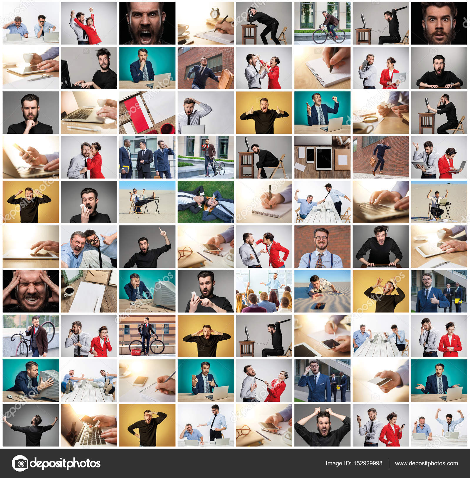 business people colleagues interaction communication office collage concept the collage from images of business man at office with different emotions