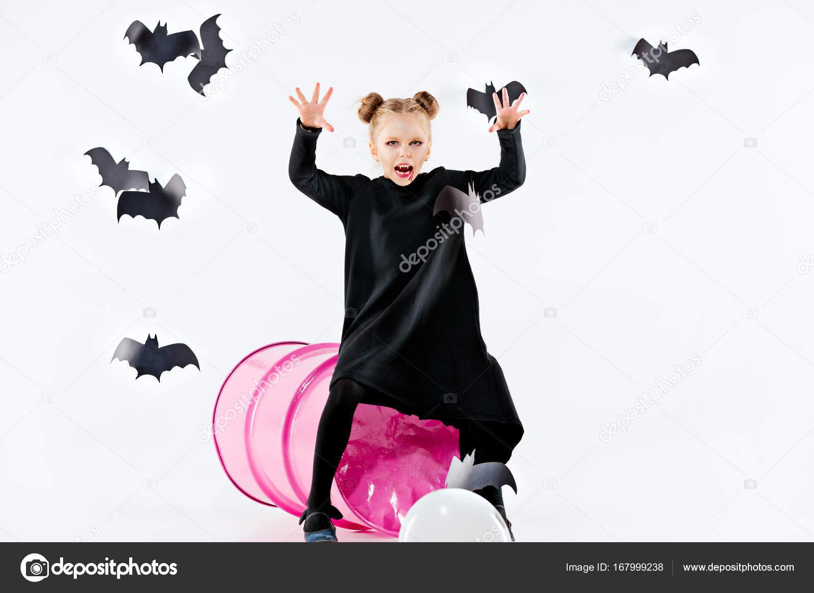 Fotos Para El Dia De Las Brujas Bruja Niña En Vestido