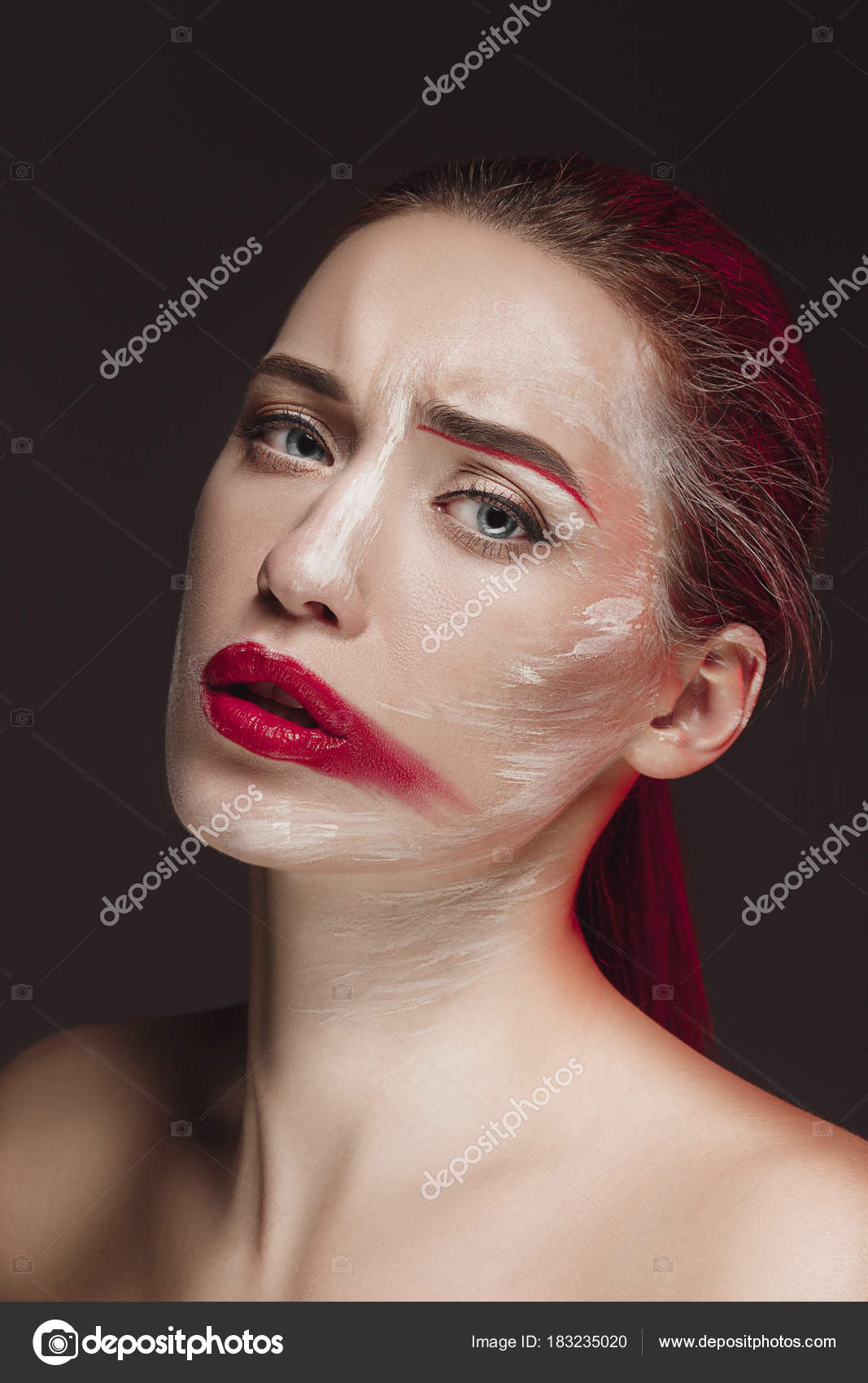 Fashion Model Girl With Colored Face Painted Beauty Fashion
