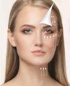 A fiatal női arc. Antiaging és szál emelő koncepció