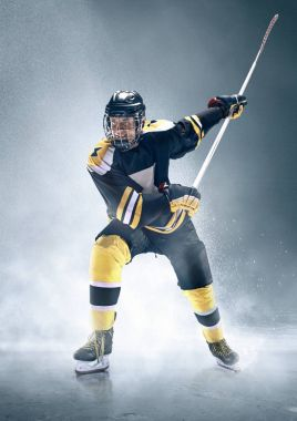 Ice hockey player in action.