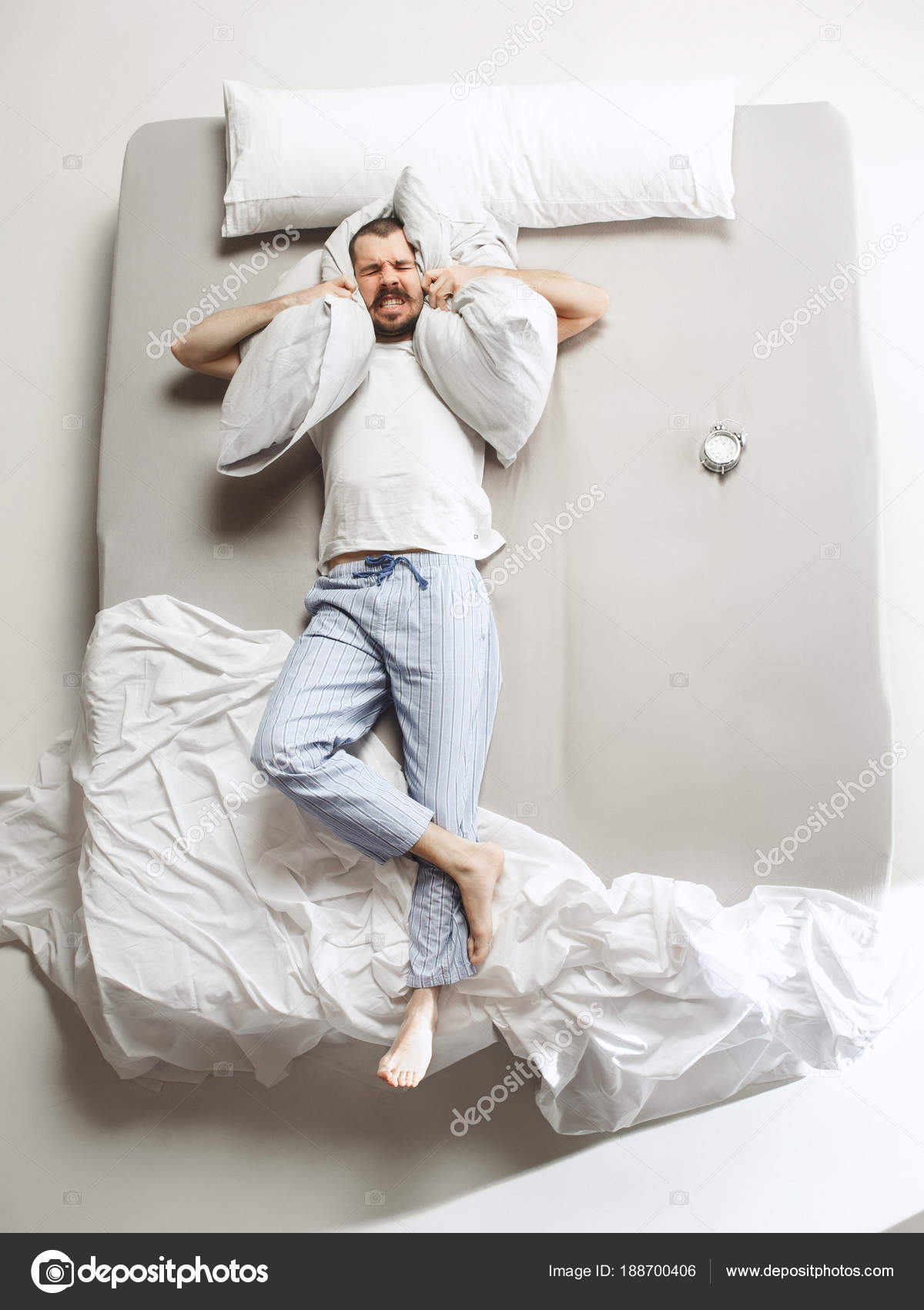 white bed top view. Top View Photo Of Young Man Sleeping In A Big White Bed \u2014 Stock P