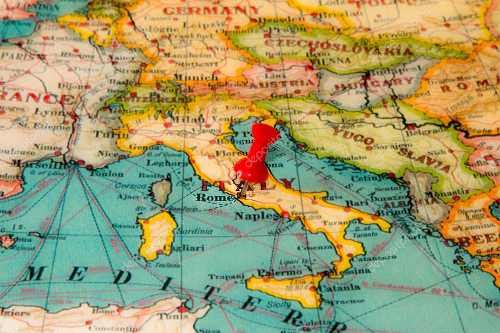 Rome Italy Pinned On Vintage Map Of Europe Stock Photo