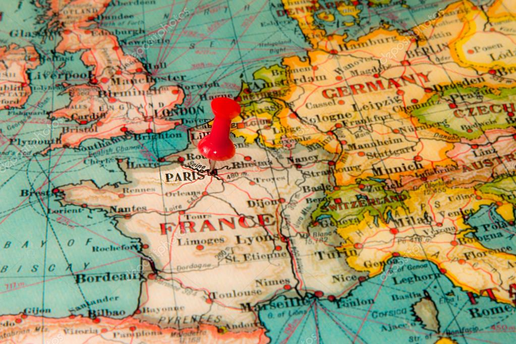 Paris france pinned on vintage map of europe stock photo paris france pinned on vintage map of europe stock photo gumiabroncs Image collections