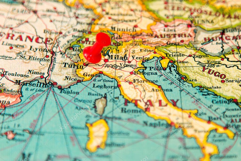 mapa de turim Turim, Itália, fixado na vindima mapa da Europa — Stock Photo  mapa de turim