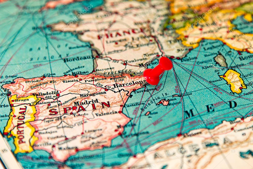 Barcelona Spain Pinned On Vintage Map Of Europe Stock Photo