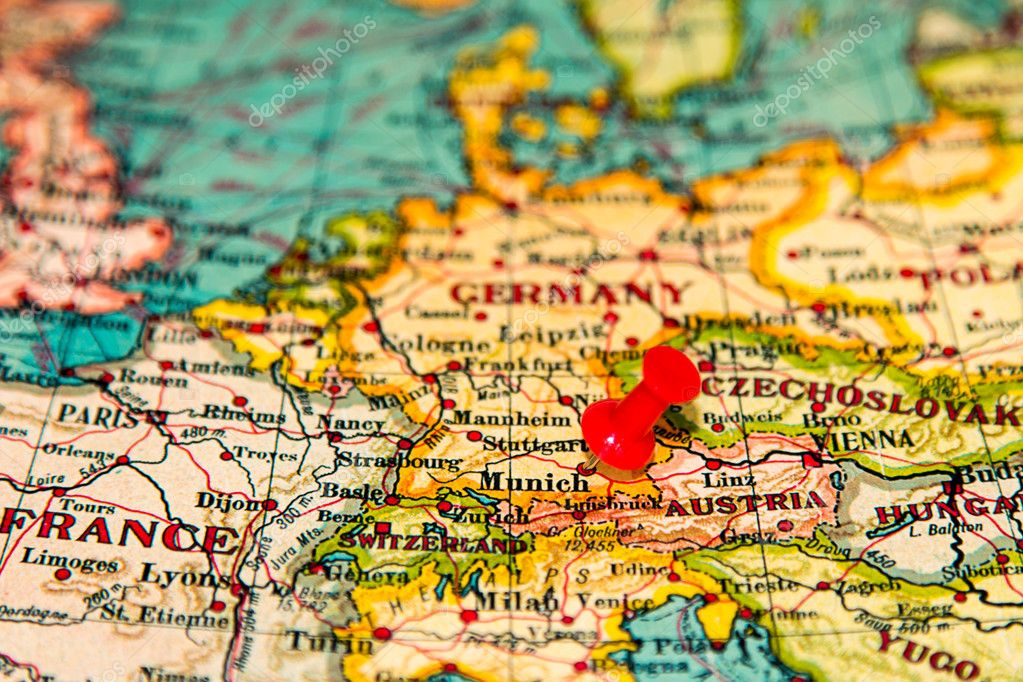 Munich germany pinned on vintage map of europe stock photo munich germany pinned on vintage map of europe stock photo gumiabroncs Image collections