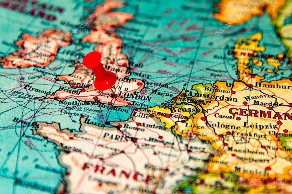 London Britain U K Pinned On Vintage Map Of Europe Stock Photo