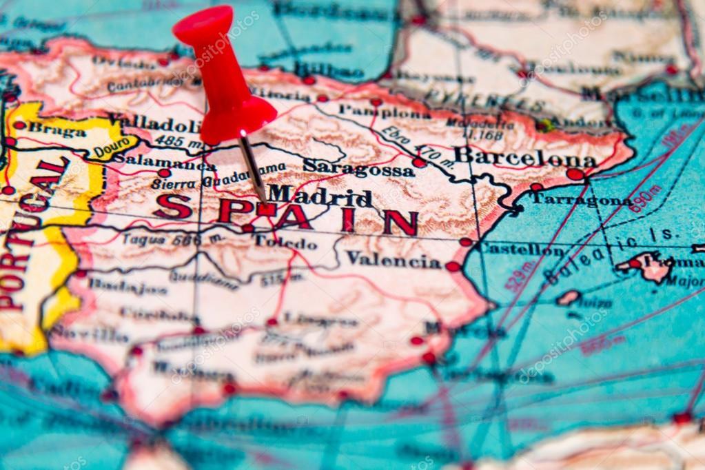 Madrid , Spain pinned on vintage map of Europe — Stock Photo ...