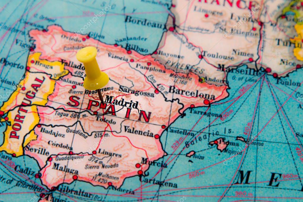 mapa de espanha madrid Madrid, Espanha colocou a vindima mapa da Europa — Stock Photo  mapa de espanha madrid