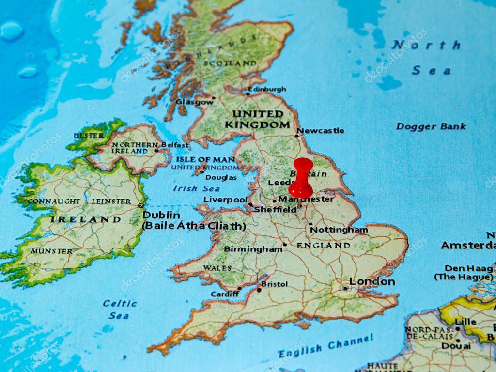 Karta Europa Pa Svenska.Sheffield Storbritannien Fast Pa En Karta Over Europa