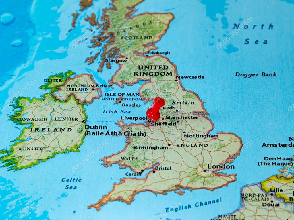 Liverpool On The Map Of England.Liverpool U K Pinned On A Map Of Europe Stock Photo