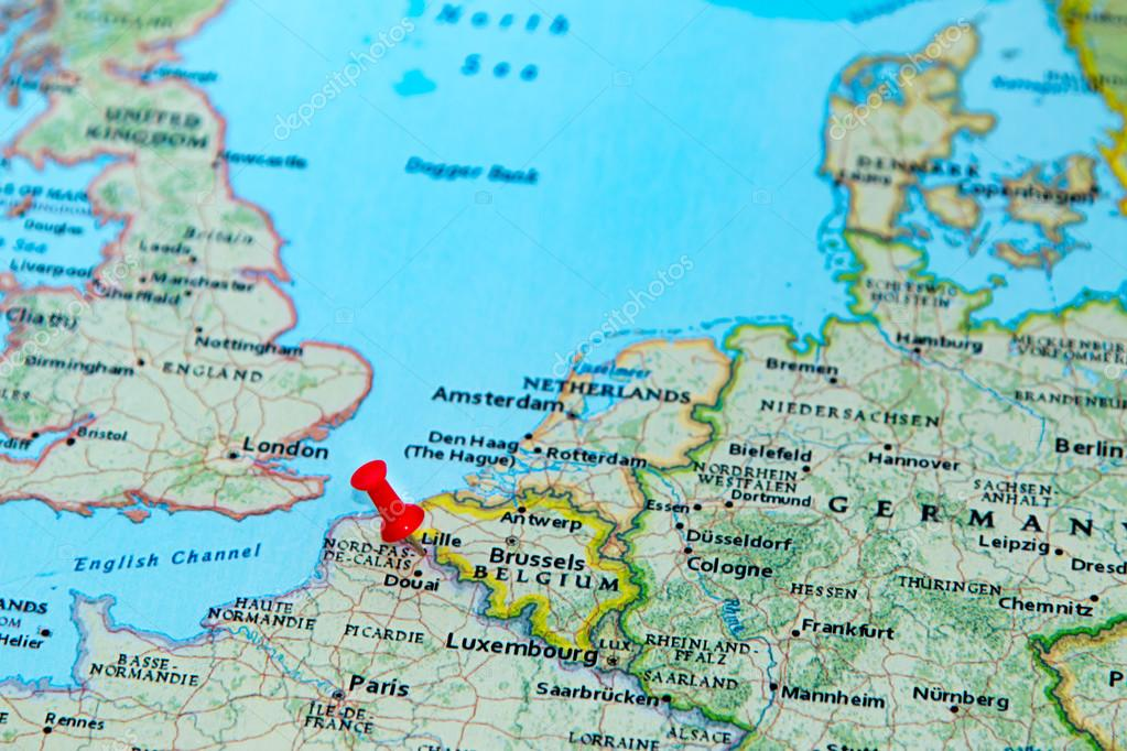 Lille Belgium Pinned On A Map Of Europe Stock Photo