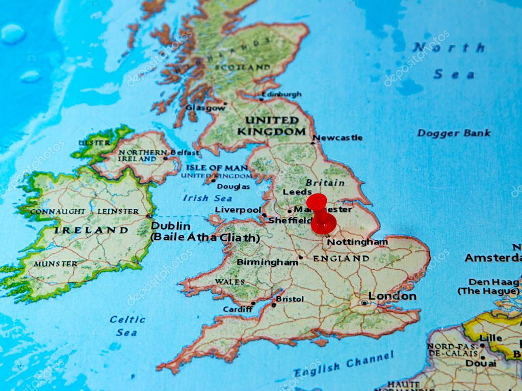 Nottingham U K Pinned On A Map Of Europe Stock Photo