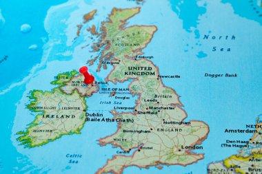 Belfast, Northern Ireland, U.K.  pinned on a map of Europe