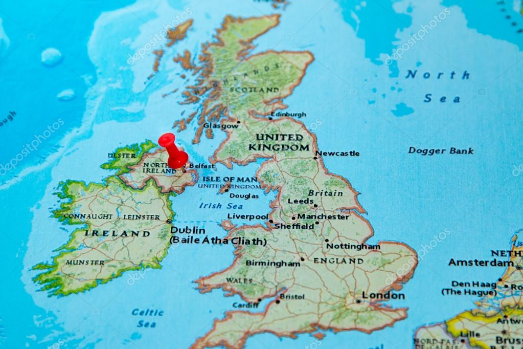 Belfast Northern Ireland U K Pinned On A Map Of Europe Stock