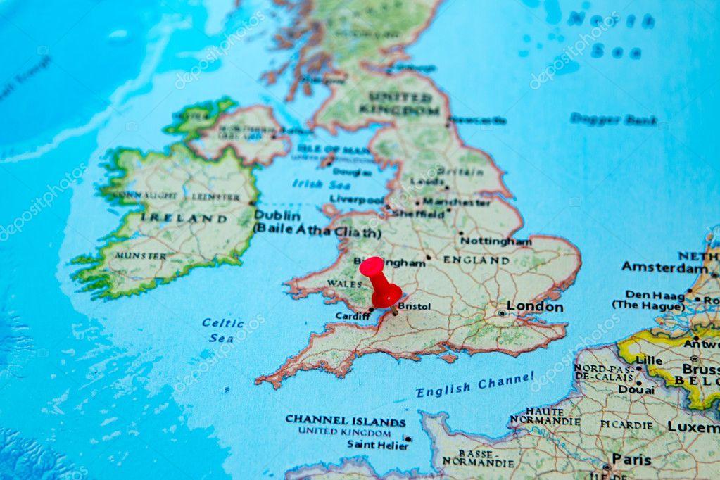 bristol karte Bristol, Großbritannien, fixiert auf einer Karte von Europa