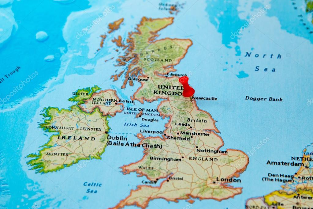 Newcastle, U.K. pinned on a map of Europe — Stock Photo