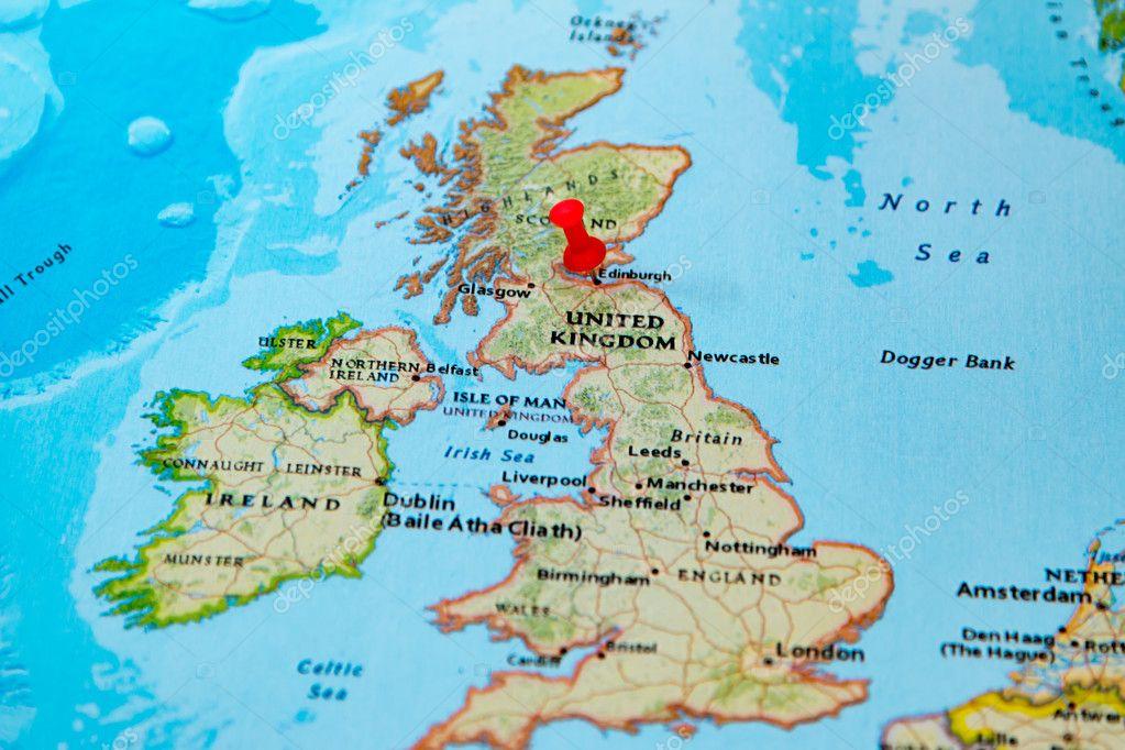 Edimburgo, Escócia, fixado no mapa da Europa — Fotografias