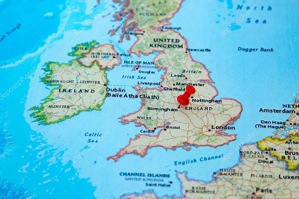 Birmingham Karte.Birmingham Grossbritannien Fixiert Auf Einer Karte Von