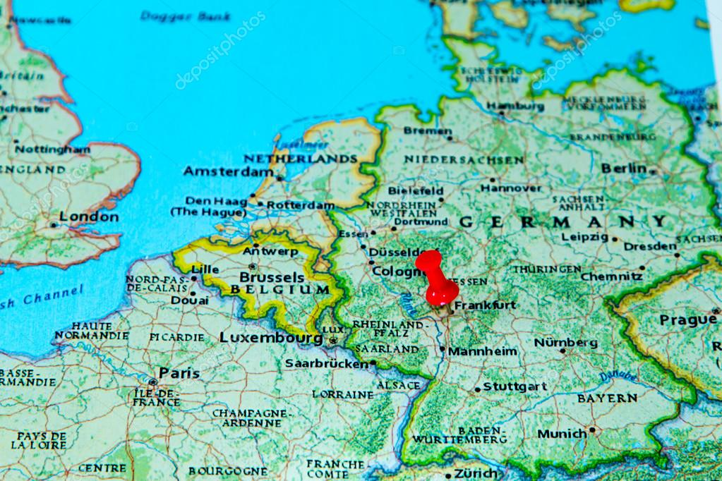 Frankfurt Germany Pinned On A Map Of Europe Stock Photo