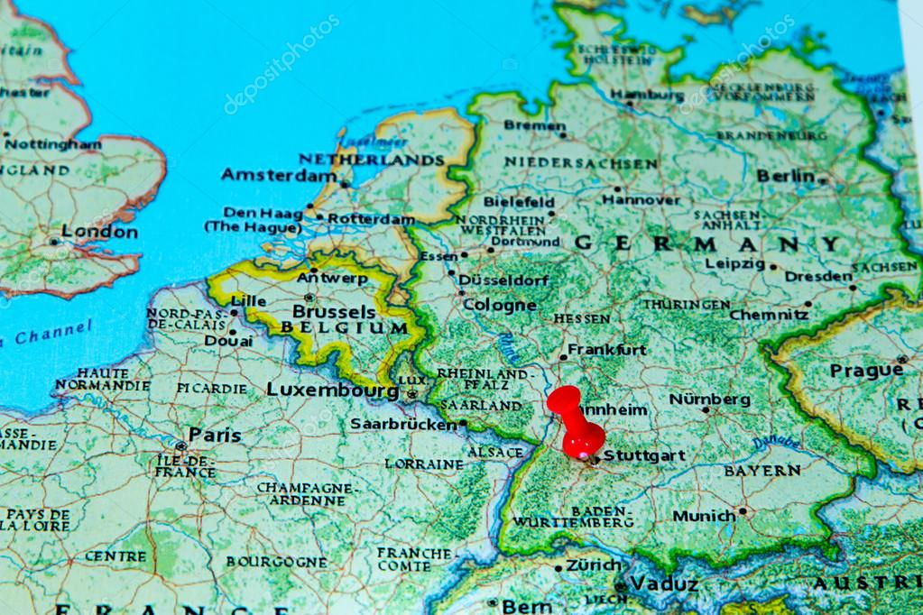 stuttgart mapa Stuttgart, Alemania en un mapa de Europa — Foto de stock  stuttgart mapa