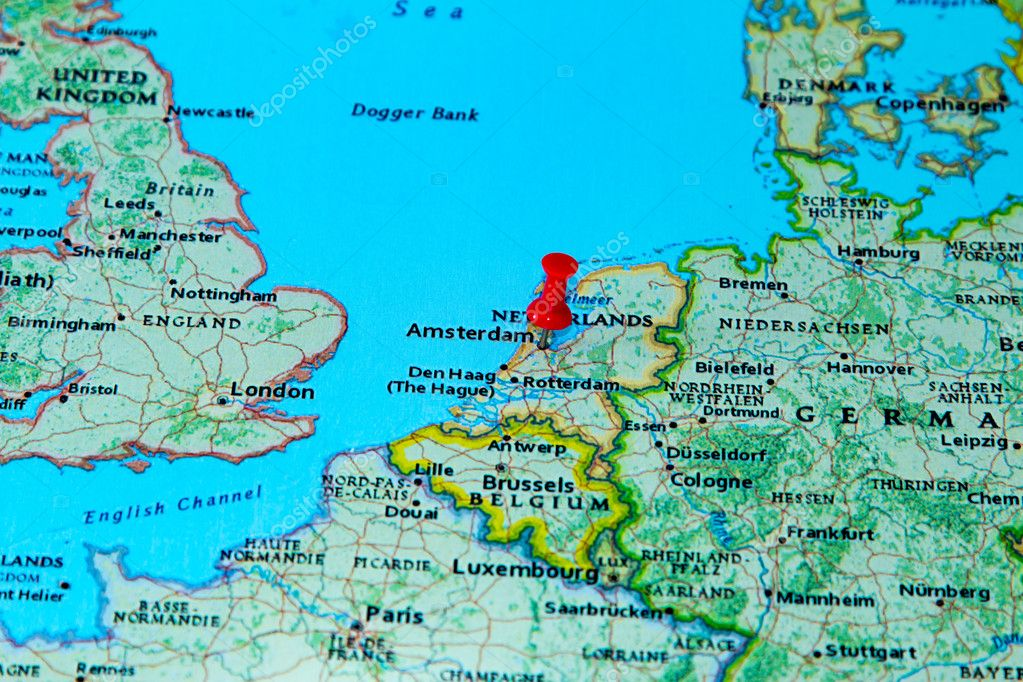 Cartina Amsterdam Download.Amsterdam Netherlands Pinned On A Map Of Europe Stock Photo