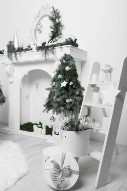 Christmas home interior in white and green