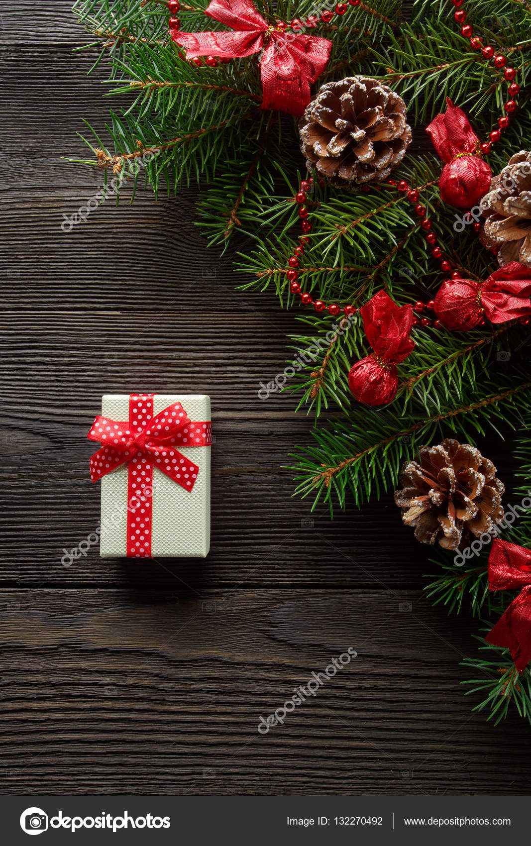 christmas wooden background with christmas tree and red decoration christmas background cardboard box with a red bow a christmas gift - Cardboard Box Christmas Decorations