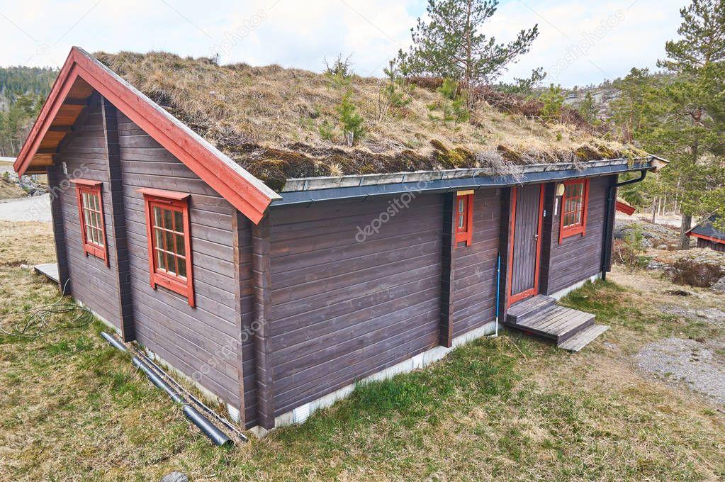 Holzernes Gartenhaus Norwegen Redaktionelles Stockfoto