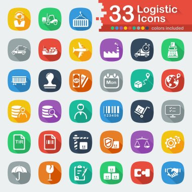 White Flat Logistic Icons