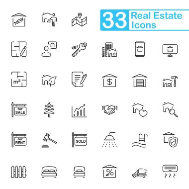 33 Black Real Estate Line Icons