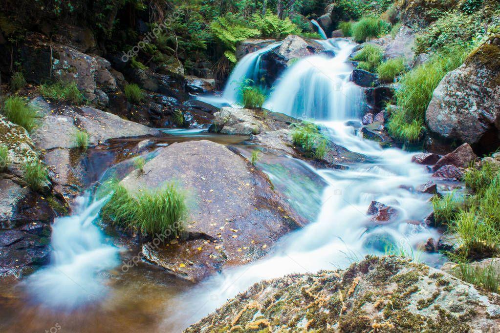 Splashing water falling from rocks