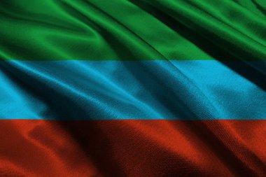 Dagestan republic flag 3D illustration symbol. Dagestan flag.