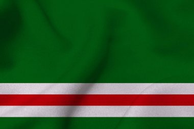 Chechen republic flag 3D illustration symbol.