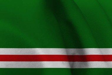 Chechen republic flag 3D illustration symbol.