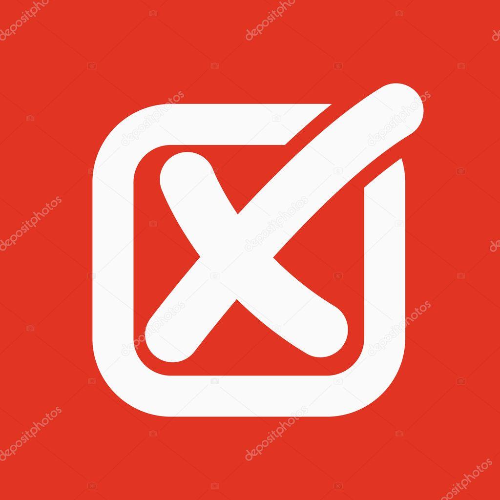 The check icon  Checkmark and checkbox, no, voting symbol