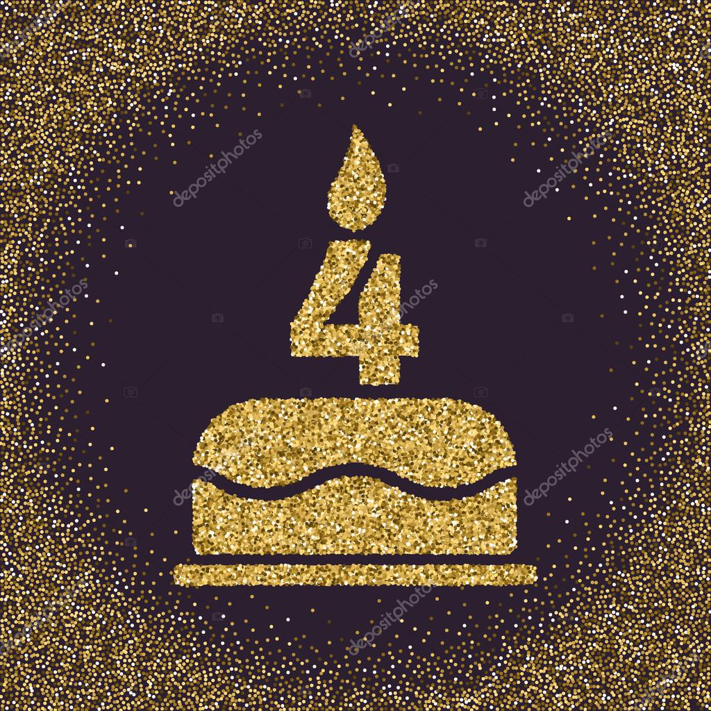 The Birthday Cake With Candles In Form Of Number 4 Symbol Gold