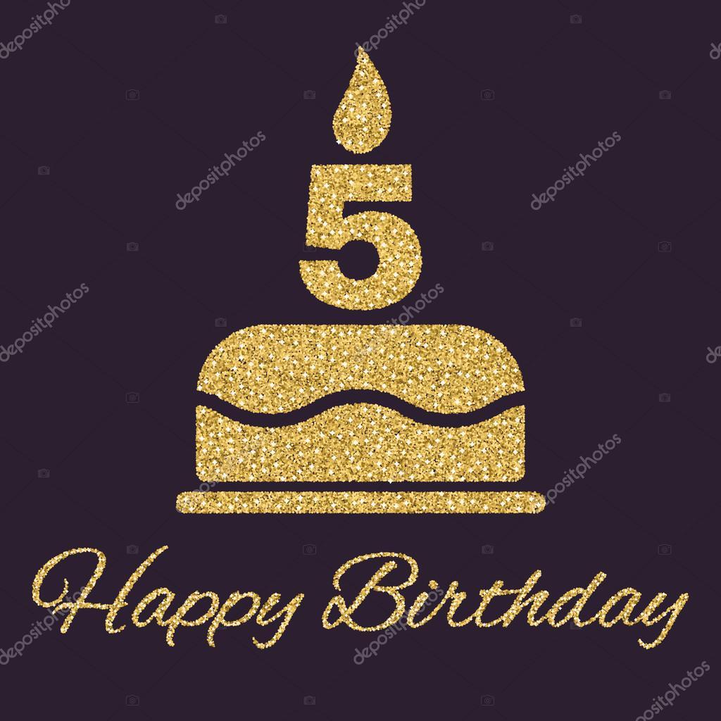 La Torta Di Compleanno Con Le Candele A Forma Di Numero 5 Simbolo