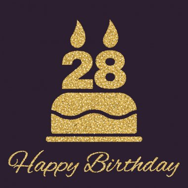 The birthday cake with candles in the form of number 28 icon. Birthday symbol. Gold sparkles and glitter