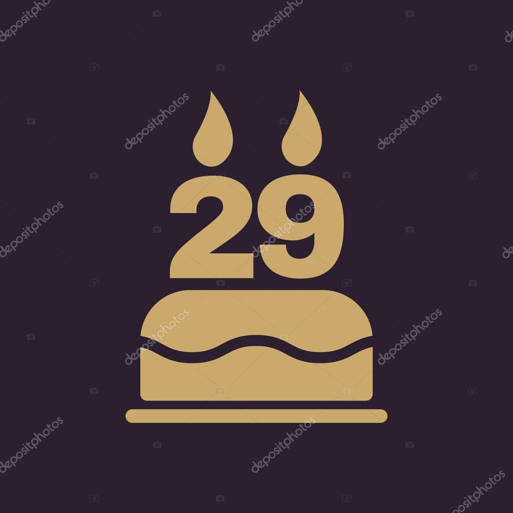 The Birthday Cake With Candles In The Form Of Number 29 Icon