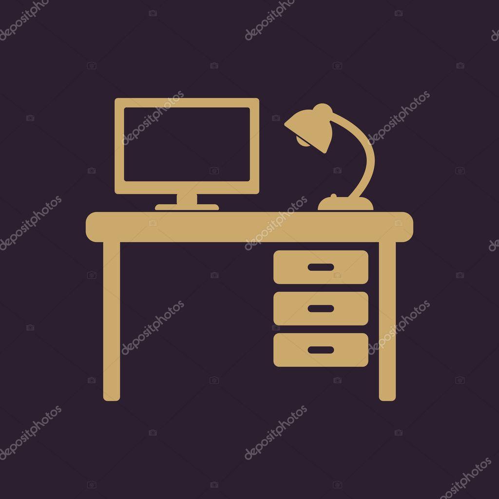 L'icône de tableau. Lieu de travail et emploi, bureau, symbole de on