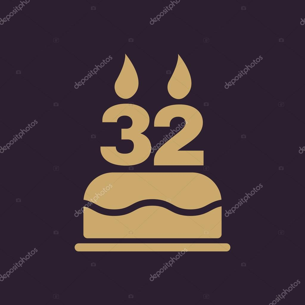 The Birthday Cake With Candles In The Form Of Number 32 Icon