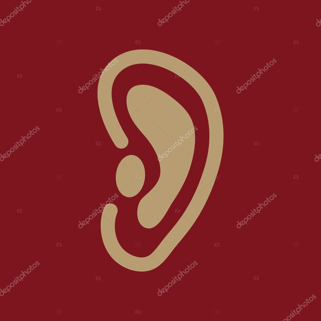 Das Ohr-Symbol. Hören Sie Symbol. Wohnung — Stockvektor © Vladvm ...
