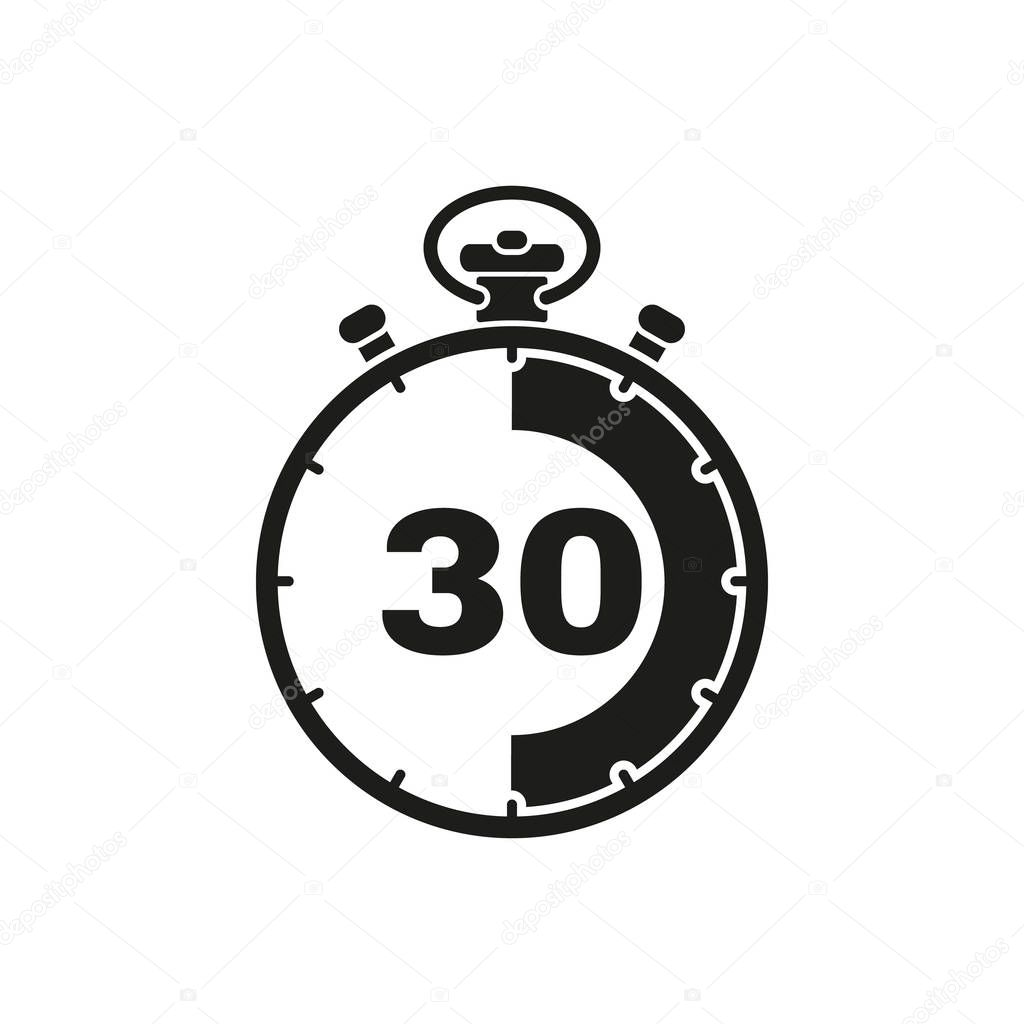 The 30 seconds, minutes stopwatch icon. Clock and watch ...
