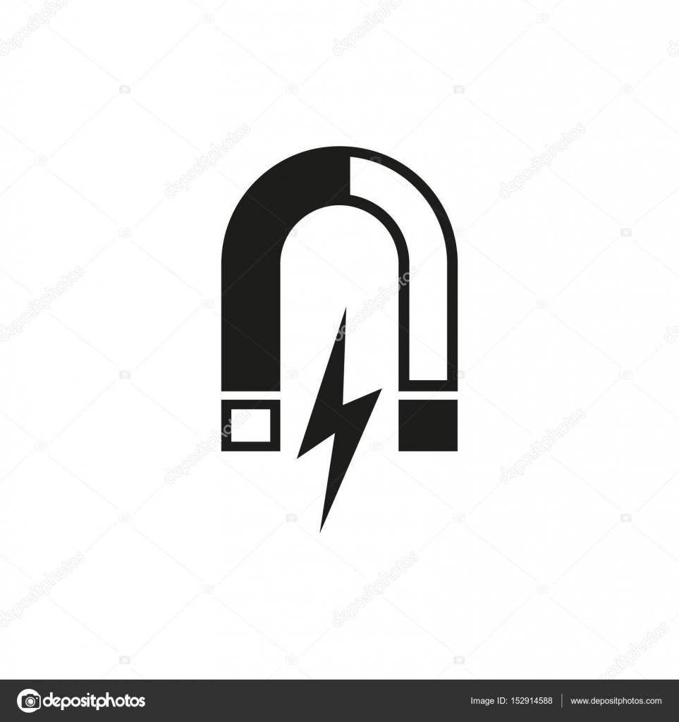 Magnet-Symbol. Magnetische und anziehen, Physik-Symbol. Flaches ...