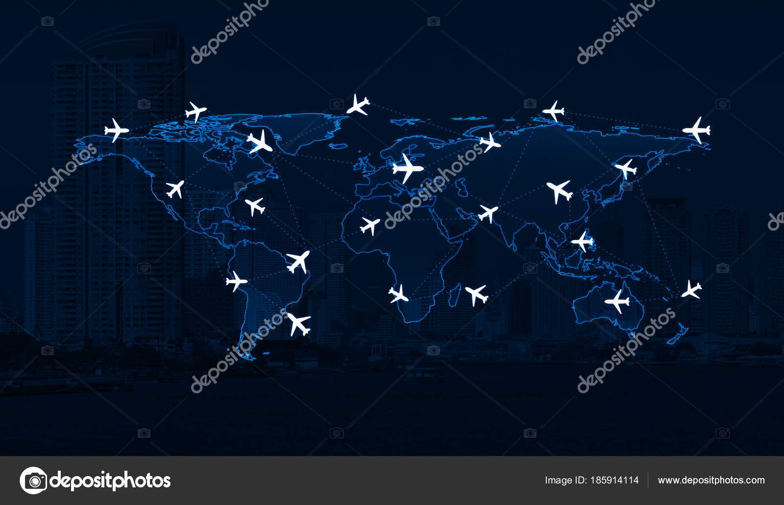 Light blue world map with flight routes airplanes elements of this light blue world map with flight routes airplanes on over city background airplane transportation concept elements of this image furnished by nasa photo gumiabroncs Gallery