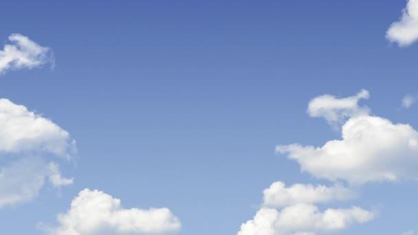 Animace duhy nad bílými mraky a modrá obloha pro pozadí